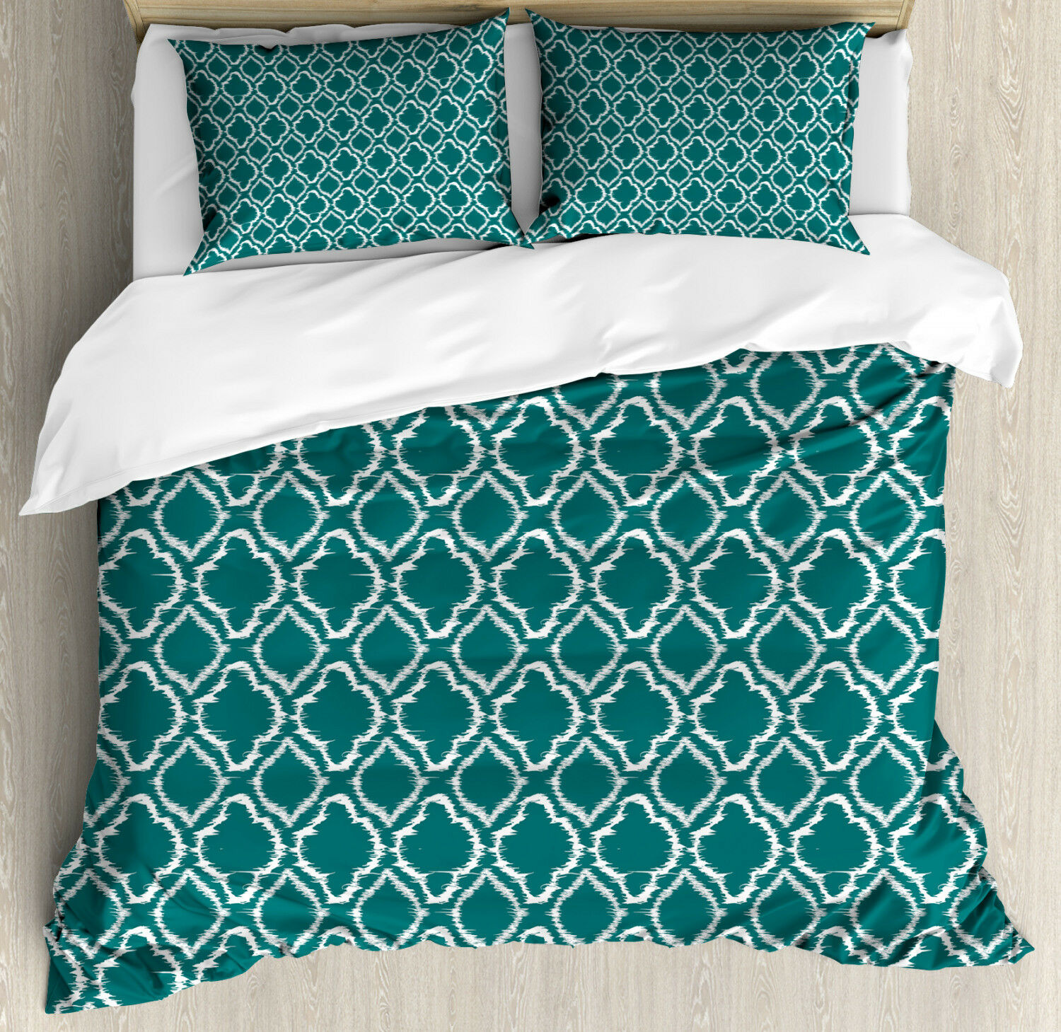 Teal Duvet Cover Set with Pillow Shams Traditional Ikat Pattern Print