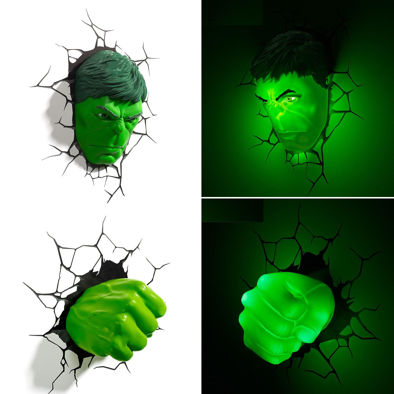 Top Marvel Avengers HULK Face Head + Fist 3D Deco LED Wandleuchten Nachtlampe