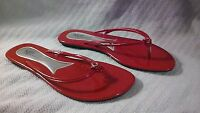 Max Collection orion Solid Red Flat Flip Flops With Jewel Accent Piece