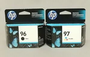 HP-96-Black-97-Tri-Color-Ink-Cartridge-Genuine-New-Sealed-Box-Lot-Of-2