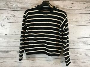 Polo Ralph Lauren Womens Black White Striped Sweater 100 Cotton