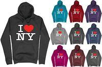 Womens I Love New York Printed Hoodie casual pullover Sweatshirt Hoody Top