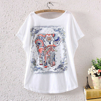 Summer Women's Batwing Short Sleeve Elephant Graphic Printed T Shirt Loose Tops