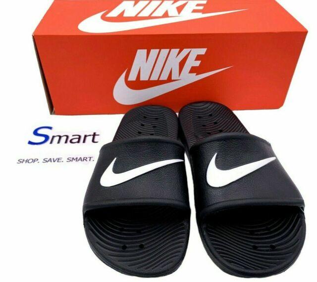 NIB SIZES 6-12 WOMEN Nike Kawa Logo Shower Slides Sandals Beach Black White  GYM