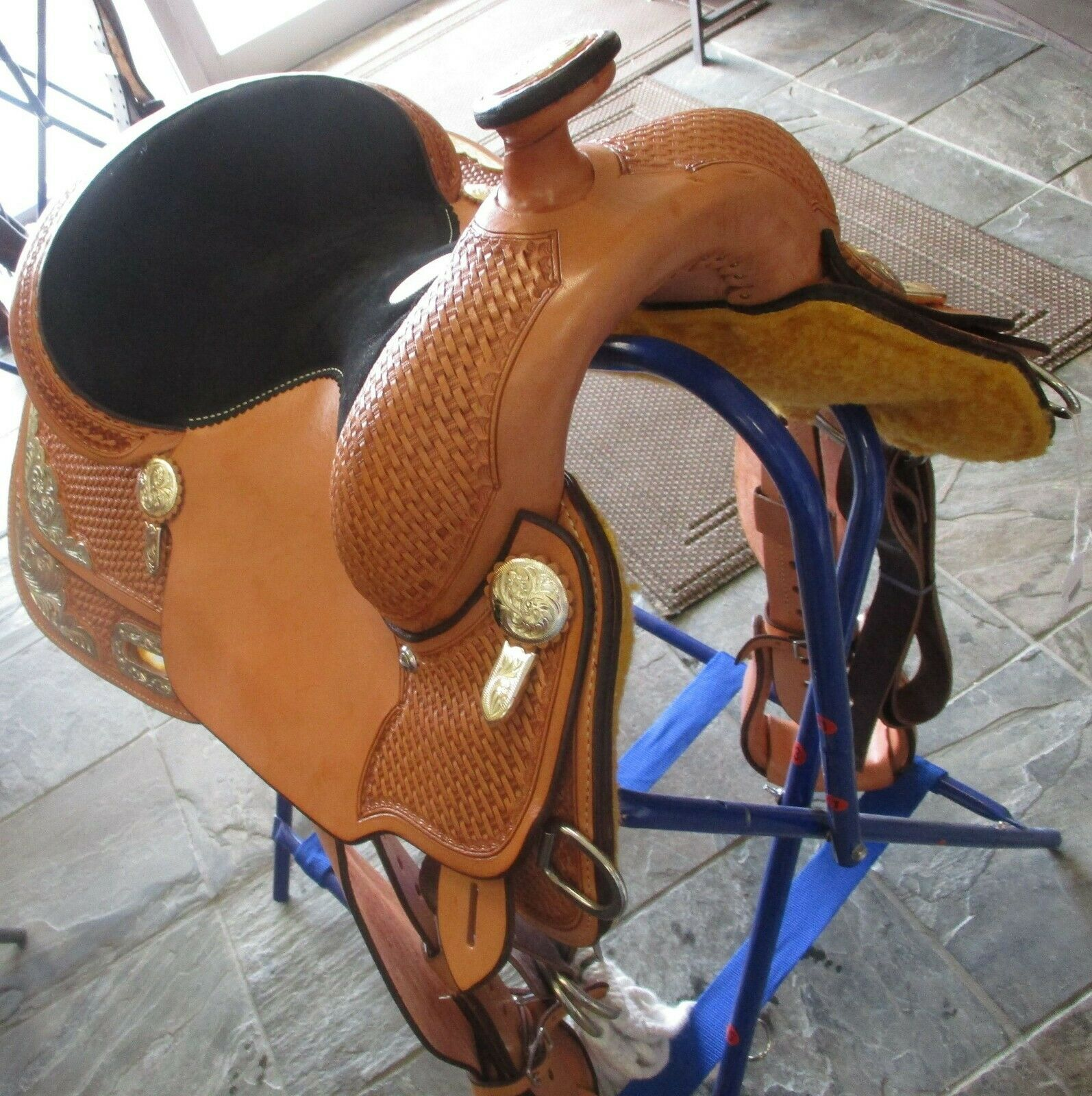 Billy Cook 14 1 2″ Show Saddle New  Light Oil color Model 3298  high quality genuine