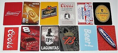Lot of 12 SINGLE Vtg Swap Playing Cards Bud Guinness Coors Beer Advertising