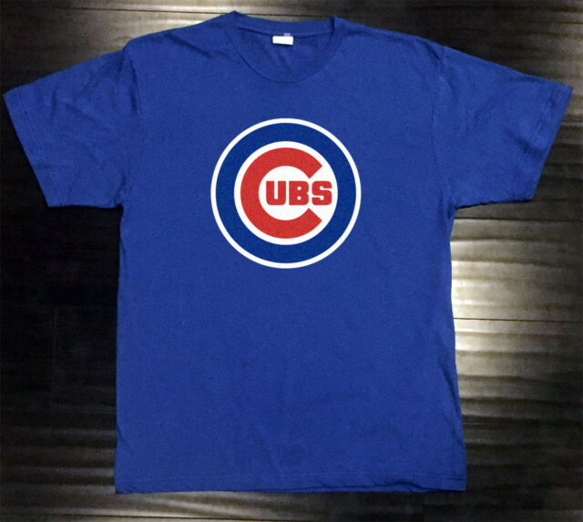 Chicago Cubs T-Shirt Graphic Chi Cotton Men Adult Logo Jersey Word