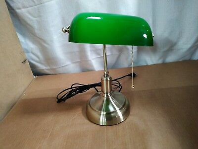 SIHER Retro Bankers Table Lamp, Bedside Green Vintage Lamp Shade with Brass Base   eBay