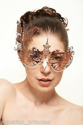 Rose Gold Side Butterfly Laser Cut Masquerade Mask USA SELLER - BRAND NEW!