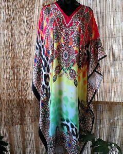 Plus-Size-Satin-Like-Embellished-Long-Kaftan-Dress-One-Size-16-to-26-Free-Post