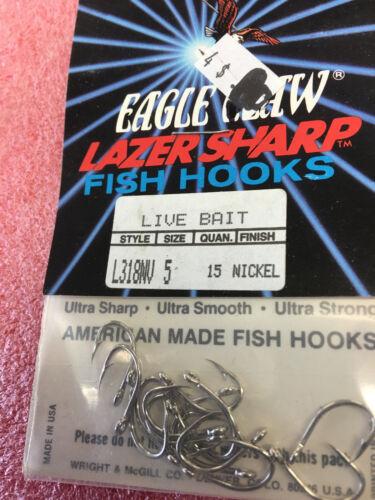 F7 Eagle Claw 5//0 Nickel Live Bait Hooks qty 15 lazer sharp fishing hook