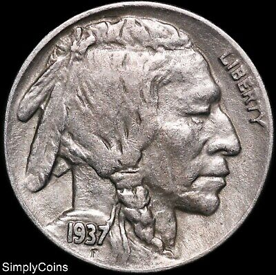 1937-D Indian Head Buffalo Nickel ~ XF Extremely Fine ~ US Coin