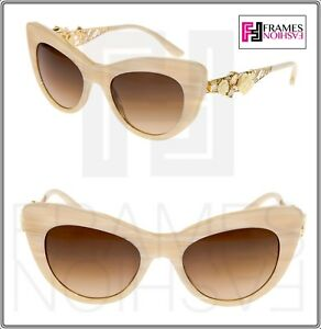 5afb70b12e8 Dolce   Gabbana 4302 Metal FLOWER LACE White Horn Gold Cat Eye ...