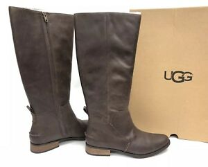 60b96b851ce Details about UGG Australia Leigh Boot Riding 1098315 Women's Dark Brown  Leather Tall Boots ~