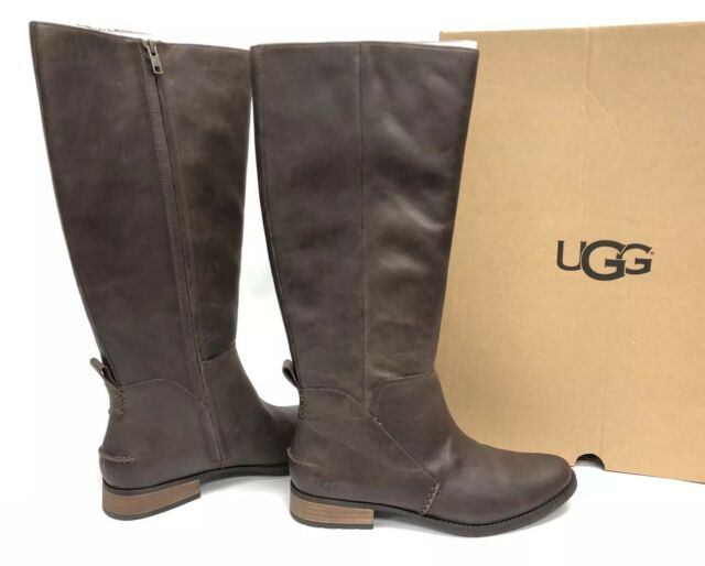 051b3f63b41 UGG Australia Leigh Boot Riding 1098315 Women's Dark Brown Leather Tall  Boots ~