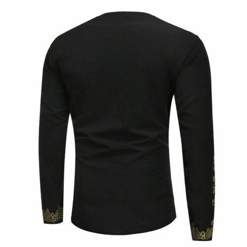 Fashion Men Long Sleeve Shirt African Dashiki Tribal Casual Blouse Top T-shirt