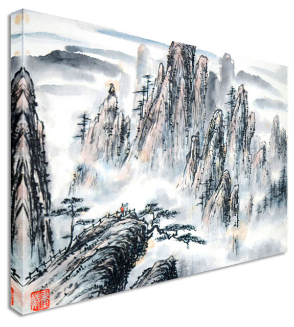 Large Abstract Japanese Painting Mountain Canvas Wall Art Pictures