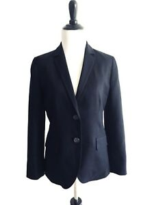 J Crew Womens Blazer Size 2 Blue Two Button Cotton V-neck Suit Lined
