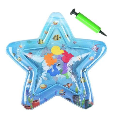 Inflatable Water Play Mat+Inflator Set Infant Fun Tummy Time Kids Play Activity