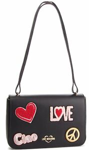 NEWT-100-AUTH-LOVE-MOSCHINO-BLACK-ECO-LEATHER-W-EMBROIDERY-W-STRAP-BAG-PURSE