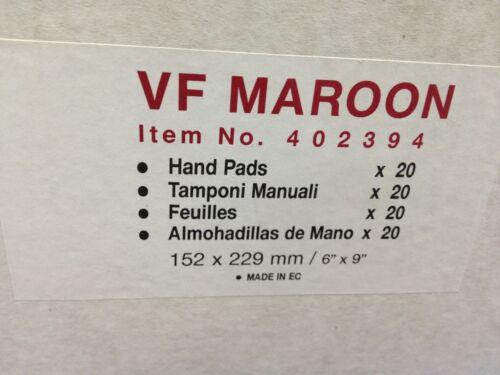 "Box of 20 Hand Pads ~ VF 6/"" x 9/"" Maroon Hand Pads ~ Item # 402394"