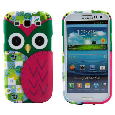 Samsung Galaxy S3 III i9300 Patchwork Owl Design Case Pink Green Hard Cover Skin