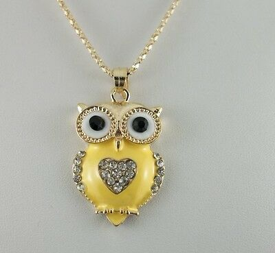 1pcs fashion yellow enamel crystal heart owl golden chain charms necklace 42mm