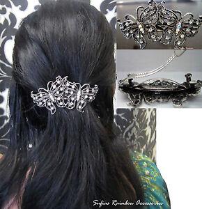 Bridal-Wedding-Prom-Silver-Crystal-Vintage-Butterfly-Barrette-Hair-Clip-Grip