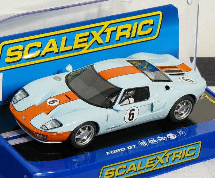 Scalextric C3324 Ford GT Gulf Heritage USA Limited Edition Slot Car 1 32
