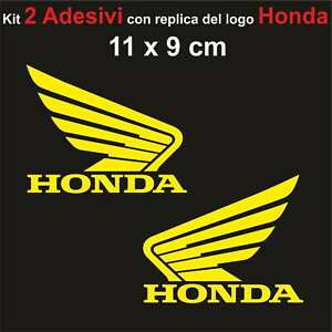 Kit-2-Adesivi-Honda-Moto-Stickers-Adesivo-11-x-9-cm-decalcomania-GIALLO