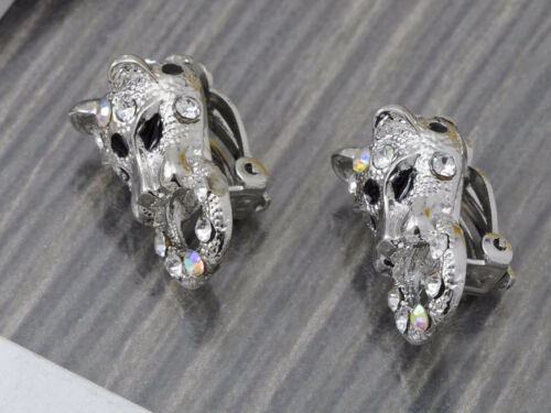 Silver Solid Crystal Rhinestone Leopard Cat Pair Earrings Necklace Set Jewelry