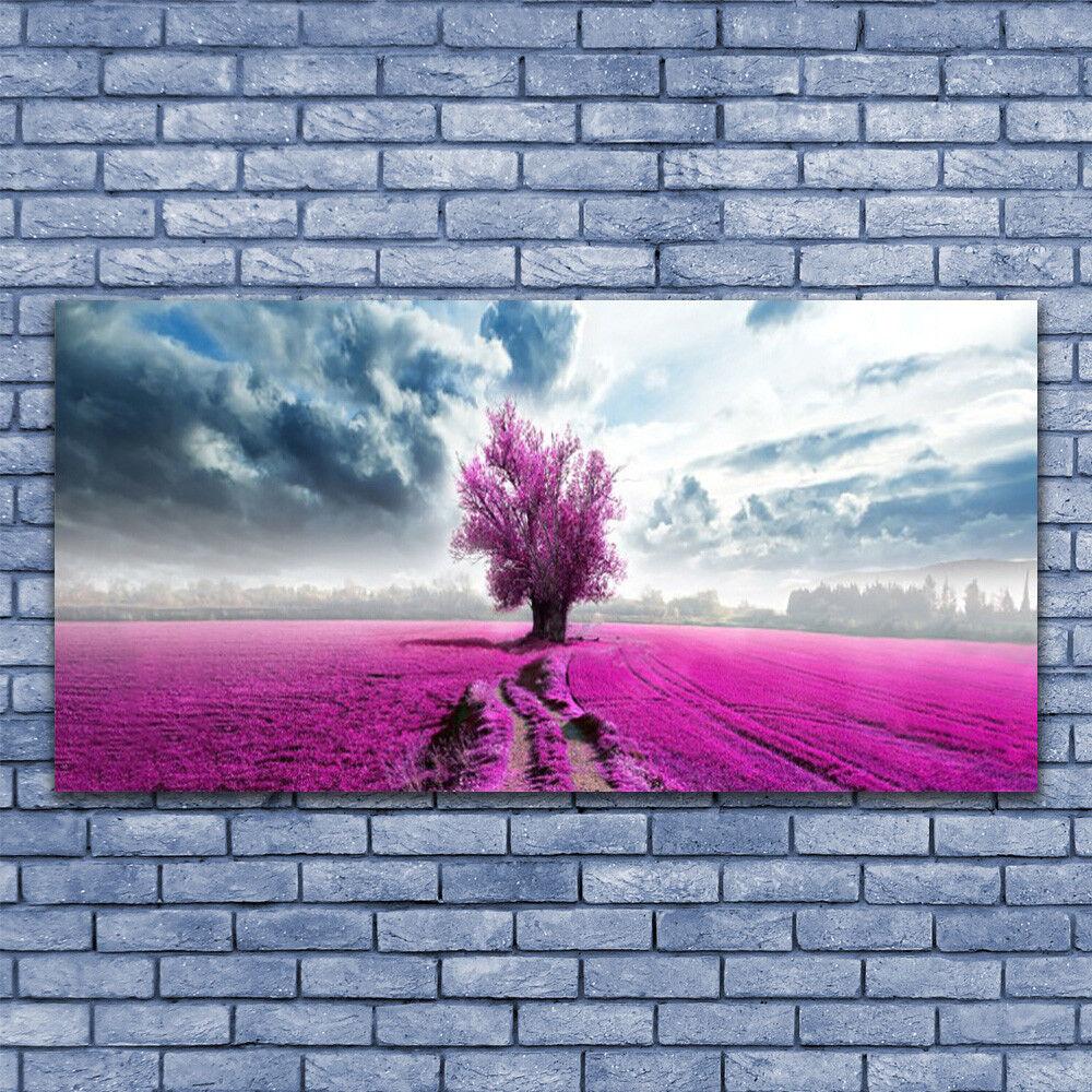 Wall art Print on Plexiglas® Acrylic 140x70 Meadow Tree Nature