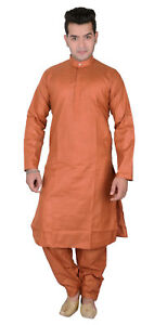 cotone Completo completo pajama ruggine due da Salwar puro Kurta di Sherwani Kameez pezzi in uomo 1805 TTA1q