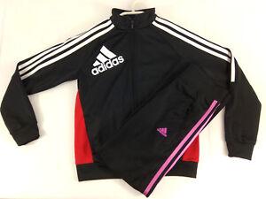 Adidas-Fille-Ensemble-survetement-veste-et-legging-10-ans-noir-rose-Envoi-suivi