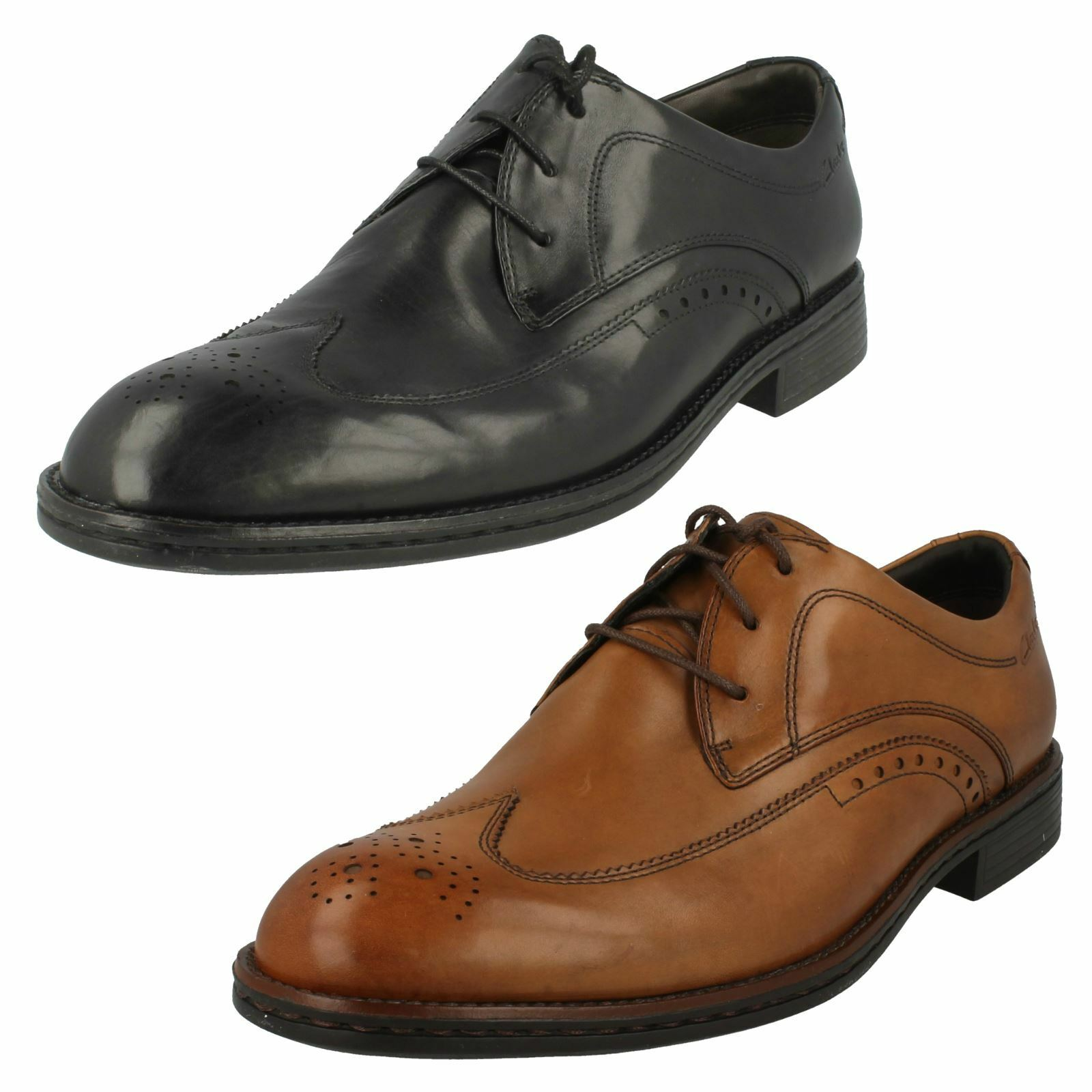 Uomo Clarks Formal Rounded Wide Toe Lace Up Leder Wide Rounded Brogues Gable Star 89171e