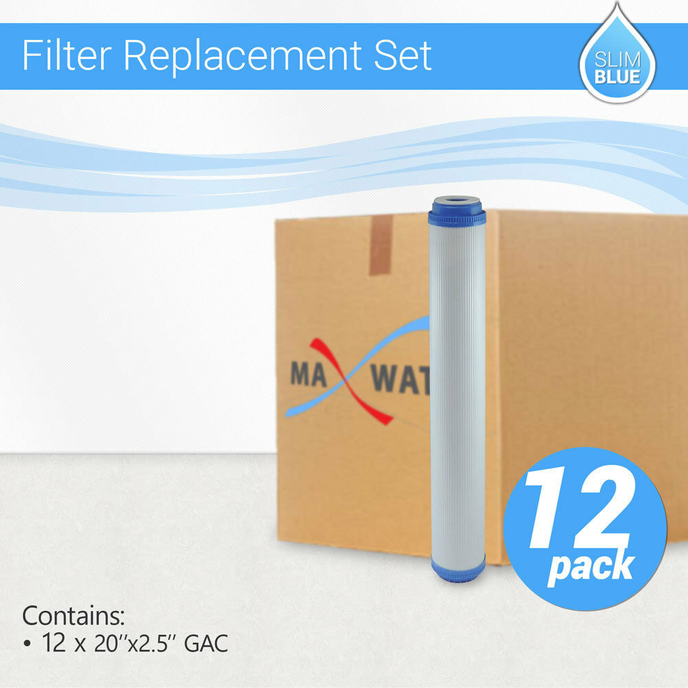 12 x Max Water Whole House GAC UDF GAC Coconut Shell Carbon Filter, 20 x2.5