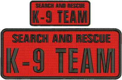 Search and Rescue K9 Team embroidery patches 4x10 and 2x5  white