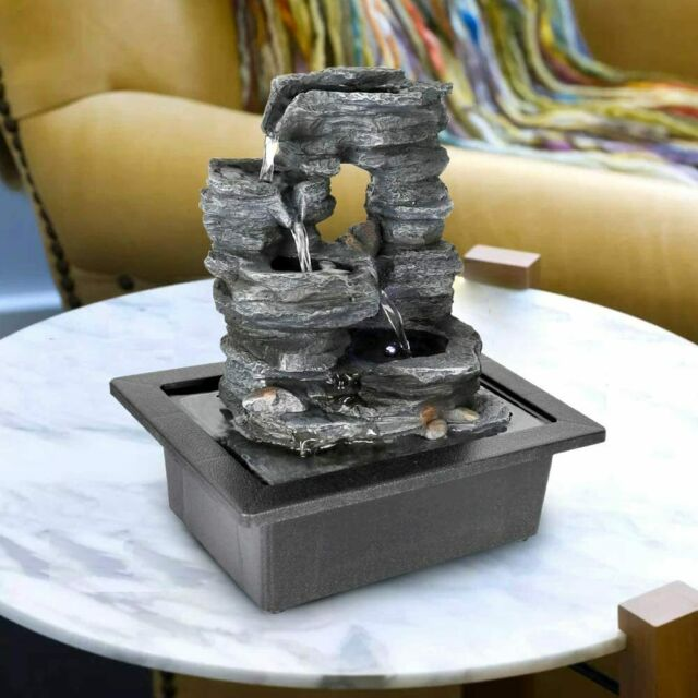 Indoor Tabletop Waterfall Small Rock Fountain Granite Finish For Sale Online Ebay