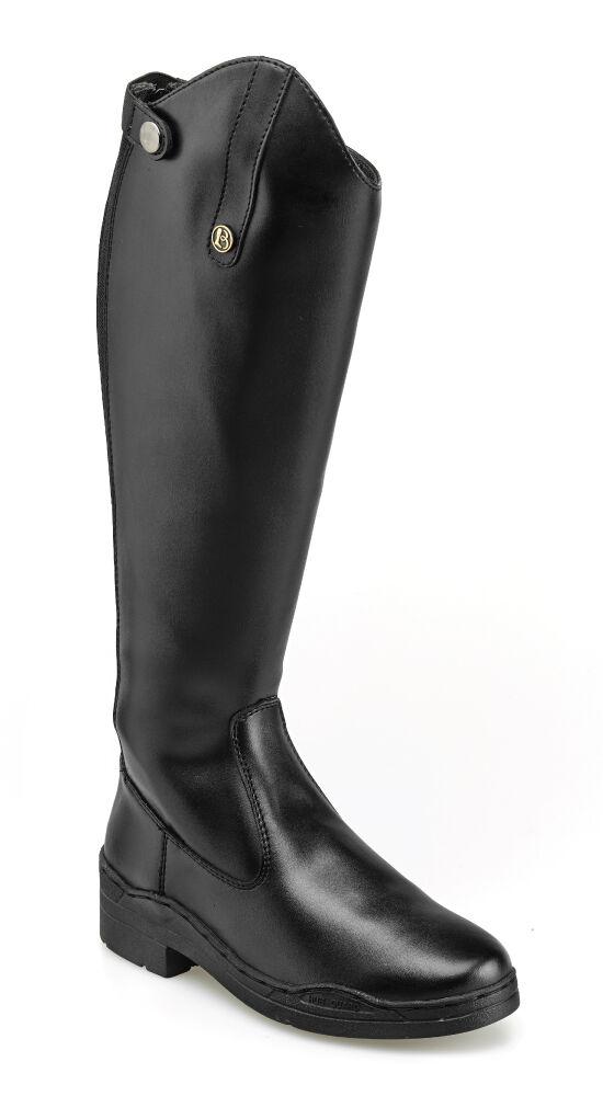 Brogini Modena largo Caballo botas, Cuero Sintético, con cierre de cremallera, Negro
