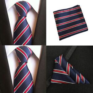 Men-White-Red-Stripe-Navy-Blue-Silk-Tie-Match-Pocket-Square-Set-Lot-HZBWT101