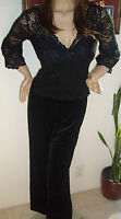Sale Beautiful Boston Proper Black Velvet And Lace Holiday S/8 Jumper
