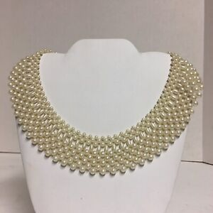 """Vintage Faux Pearl Beaded 1 1/2"""" Wide Collar Necklace 16"""""""