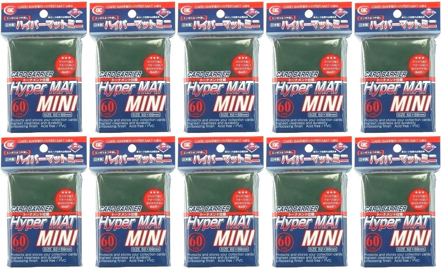 X10 KMC CARD BARRIER Hyper Matte Mini SLEEVES Green for Yu-gi-oh etc 89x62mm