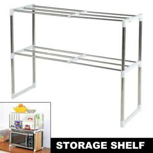 Multifunction-Microwave-Oven-Stainless-Steel-Shelf-Kitchen-Storage-Rack-2-Tiers