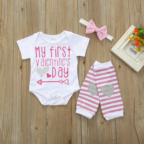Valentine/'s Day Toddler Baby Boy Girl Romper Top+Leg Warmers Party Outfit Set