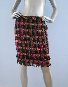 268-Nwt-Trina-Turk-157201-Tweed-Pencil-Jael-Fringe-Mult-Skirt-10-12
