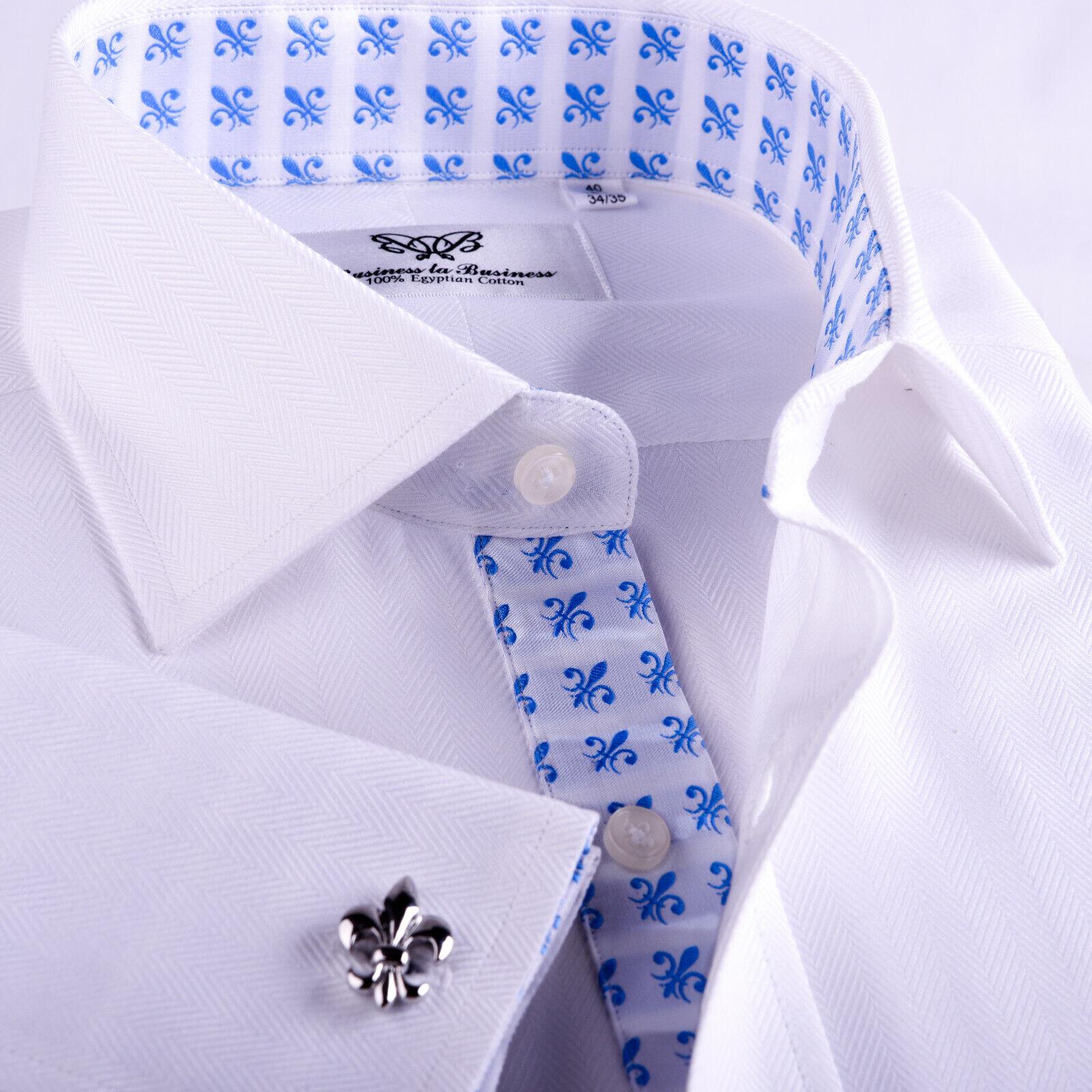 White Herringbone Formal Business Dress Shirt Mens B2B Designer Clothing Apparel