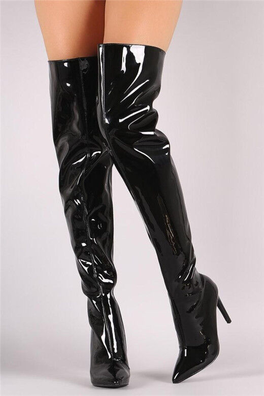 Fashion Women Patent Leather Pointed Toe High Heels Stiletto Over The Knee Boots
