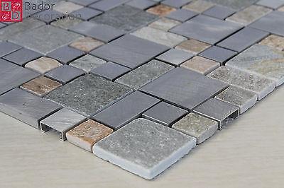Glasmosaik Mosaik Fliesen Mosaikfliesen Marmor Alu Beige Silber Braun Grau Neu