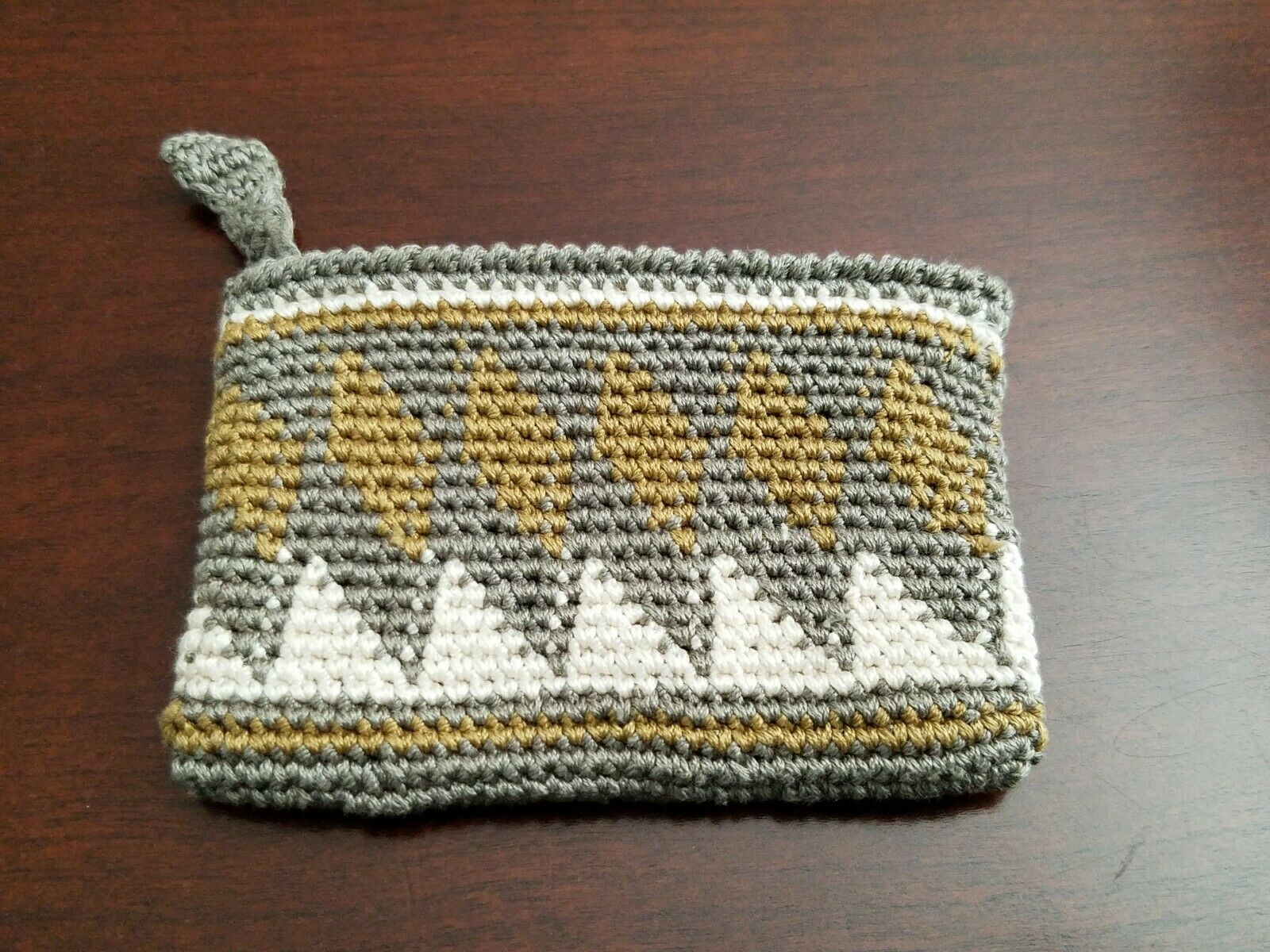 New Men In Cities Handmade Knit Peruvian Olive Wallet coin pouch